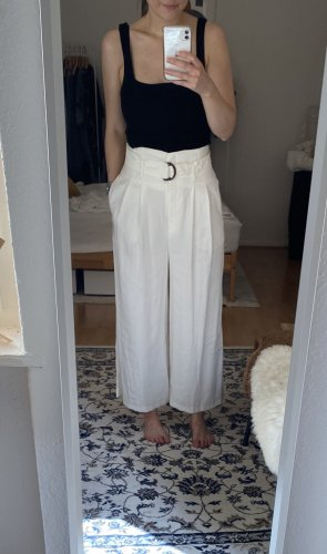 Weite Hose Culottes Weiß Creme Nude Topshop 36 38 High Waist Gürtel S M NEU