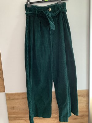 Primark Corduroy Trousers petrol-forest green