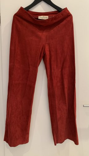 Valentino Boutique Leather Trousers dark red leather