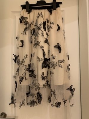 Tiulowa spódnica ciemnobrązowy-kremowy