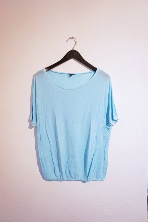 Weites Shirt Hellblau mit Gummibund / Sommershirt / Strandshirt hellblau