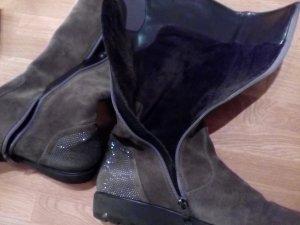 ara Botas de pantorrilla ancha gris oscuro-marrón grisáceo Gamuza