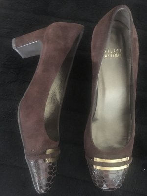 Stuart weitzman Backless Pumps brown-bronze-colored leather