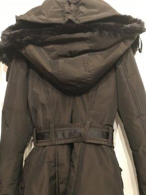 Wellensteyn Abrigo con capucha marrón oscuro fibra textil