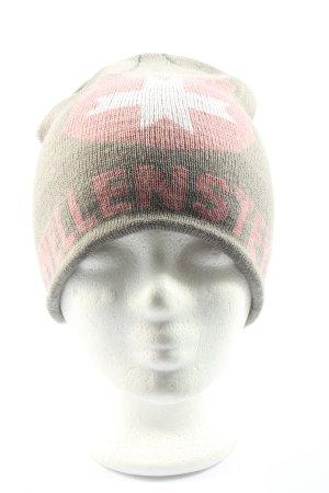 Wellensteyn Sombrero de punto gris claro-rosa estampado temático look casual