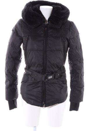 Wellensteyn Manteau d'hiver noir motif de courtepointe style décontracté