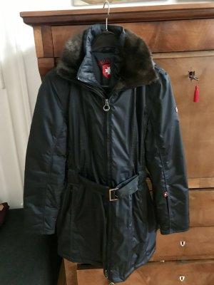 Wellensteyn Abrigo con capucha azul oscuro-marrón