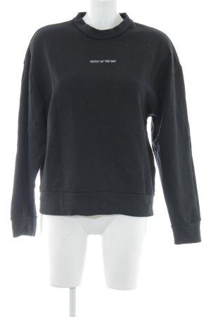 Wemoto Sweatshirt zwart-wit geborduurde letters casual uitstraling