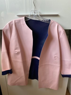 Blazer en cuir bleu foncé-rose