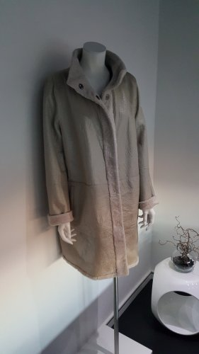 Marc Cain Leather Coat light grey-oatmeal leather