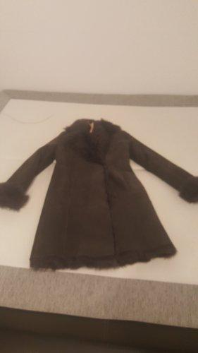 Marc Cain Skórzany płaszcz taupe-szaro-brązowy