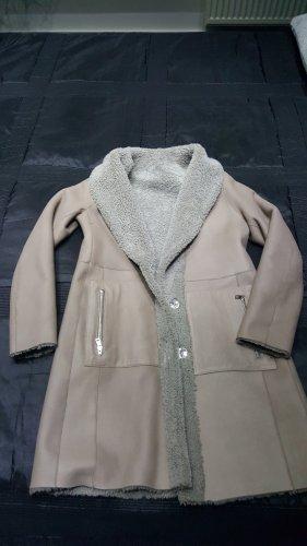 Marc Cain Skórzany płaszcz jasnoszary-jasnobeżowy