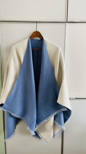 Hooded Scarf natural white-cornflower blue
