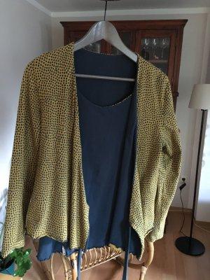 Deerberg Camisa cruzada amarillo limón-azul oscuro