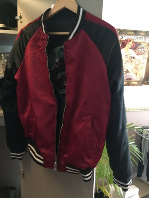 New Yorker Giacca bomber nero-rosso scuro