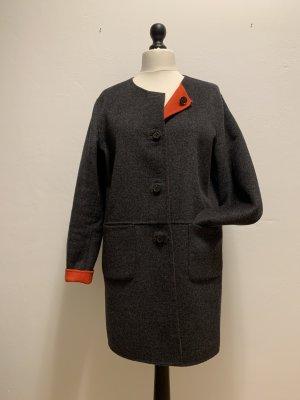 Burton Krótki płaszcz antracyt-pomarańczowy Wełna