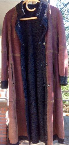 Abrigo de cuero marrón claro-negro Cuero