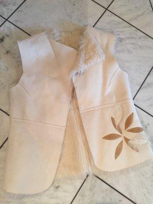 Chaleco de piel blanco puro-beige