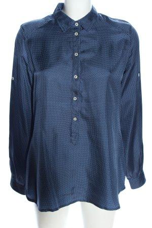 Wendy Stark Langarm-Bluse blau Punktemuster Casual-Look
