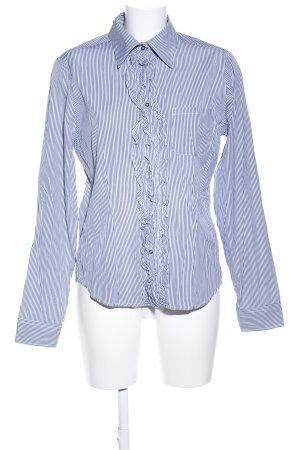 Wendy Stark Ruche blouse wit-blauw gestreept patroon zakelijke stijl