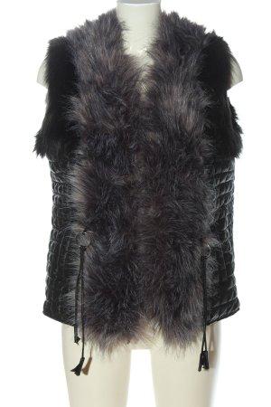 wenxi Chaleco de piel negro-gris claro estampado acolchado look casual