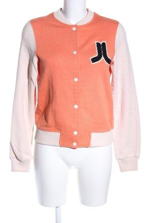 Wesc Chaqueta estilo universitario naranja claro-crema look casual