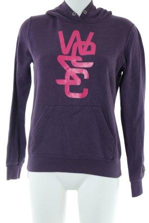 Wesc Kurzarmpullover lila-pink Motivdruck Casual-Look