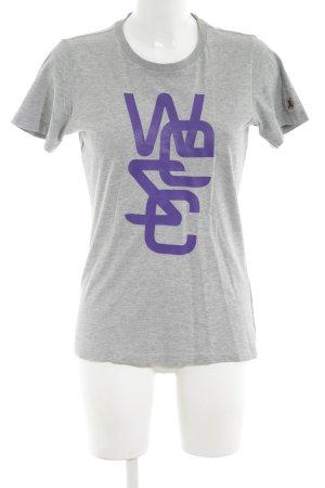 Wesc Print-Shirt hellgrau-lila meliert Casual-Look