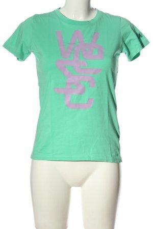 Wesc T-shirt turkusowy-różowy Wydrukowane logo W stylu casual