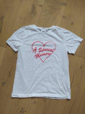 Wesc T-shirt biały-czerwony