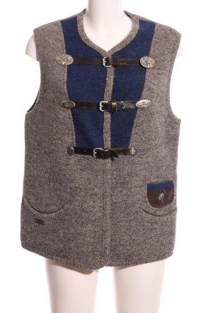 Wesenjak Folkloristische vest bruin-blauw gestippeld klassieke stijl