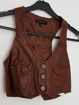 Amisu Biker Vest brown-cognac-coloured