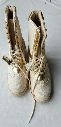 Patucos con cordones beige claro Lino