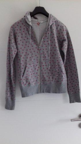 Chaleco con capucha gris-rosa