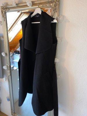 sisters Gilet long tricoté noir