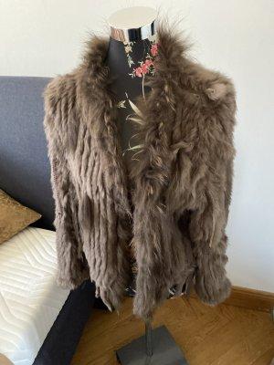 Fur vest bronze-colored alpaca wool