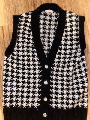 Mango Long Knitted Vest white-black