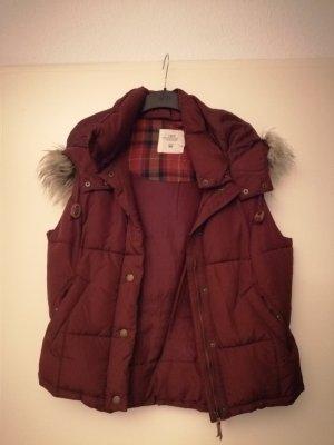 H&M Fake Fur Vest bordeaux