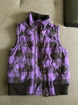 Fishbone Fake Fur Vest black-blue violet