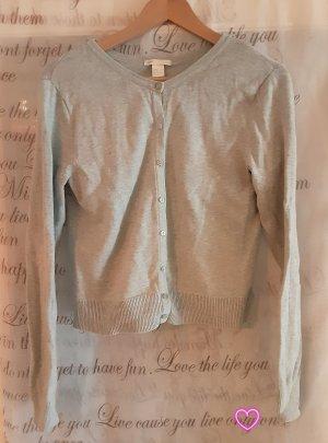 H&M Gilet long tricoté gris ardoise-bleu pâle