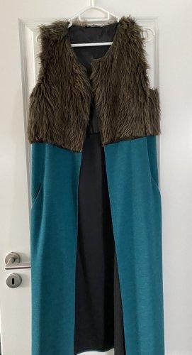 Fur vest turquoise