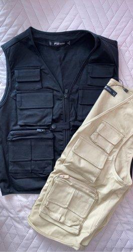 New Yorker Gilet en jean noir-beige