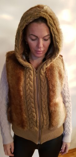 Fake Fur Vest yellow polyester