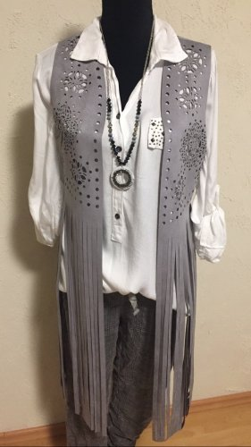 0039 Italy Fringed Vest grey
