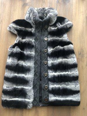 Fur vest black-grey