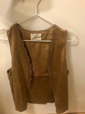 Zara Chaleco de cuero marrón claro