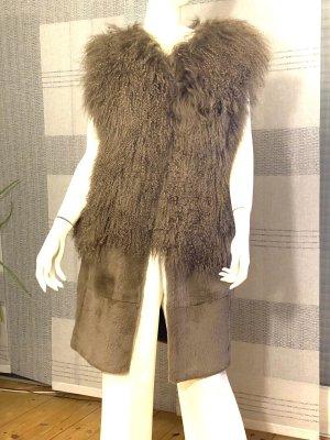 Halston Fur vest light brown alpaca wool
