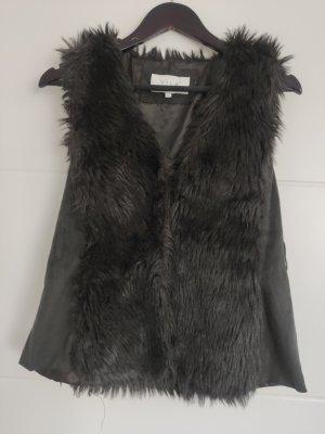 Vero Moda Kamizelka ze sztucznym futrem czarny-ciemnoszary