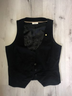 Yessica Chaleco de punto negro tejido mezclado