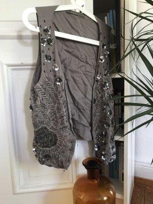 Zara Veste à franges taupe-gris foncé